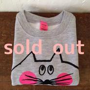 ▲送料無料 80サイズ/こども ねこもぐらさんスウェットR uyoga cat mole グレー ほっぺあり 387番目のねこもぐらさん
