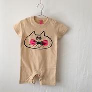 ▲送料無料 80サイズ/半そで ねこもぐらさん ロンパースB 5.6oz uyoga cat mole ナチュラル 1112番目のねこもぐらさん