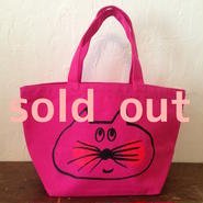 ▲送料無料 Sサイズ/キャンバス生地 ねこもぐらさん トートバッグ uyoga cat mole トロピカルピンク ほっぺあり 599番目のねこもぐらさん
