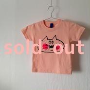 ▲送料無料 100サイズ/半そで ねこもぐらさんTシャツ 5.6oz uyoga cat mole アプリコット ほっぺあり 857番目のねこもぐらさん