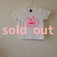 ▲送料無料 100サイズ/半そで ねこもぐらさんTシャツ 5.6oz uyoga cat mole ホワイト ほっぺなし/蛍光ピンク 785番目のねこもぐらさん