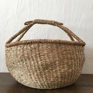 ベトナムのまるっこい手づくりかご handmade シーグラス ラウンド バスケットA Lサイズ AL-13