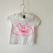 ▲送料無料 70サイズ/半そで ねこもぐらさんTシャツB 5.6oz uyoga cat mole ホワイト ほっぺなし/蛍光ピンク 462番目のねこもぐらさん
