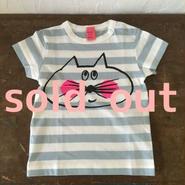 ▲送料無料 80サイズ/半そで ねこもぐらさんしましまTシャツE オーガニックコットン uyoga cat mole  ライトブルー×ホワイト ボーダー ほっぺあり 995番目のねこもぐらさん