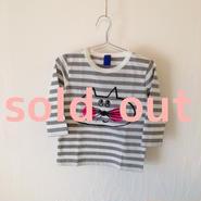 ▲送料無料 90サイズ/長そで ねこもぐらさんしましまTシャツE オーガニックコットン uyoga cat mole グレーしましま (ボーダー) ほっぺあり 893番目のねこもぐらさん