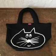 ▲送料無料 Sサイズ/スウェット生地 ねこもぐらさん トートバッグ uyoga cat mole ブラック ほっぺなし 974番目のねこもぐらさん