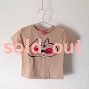 ▲送料無料 90サイズ/半そで ねこもぐらさんTシャツR 5.5oz uyoga cat mole カーキ ほっぺあり 850番目のねこもぐらさん
