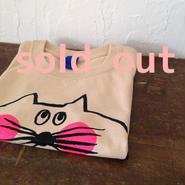 ▲送料無料 110サイズ/半そで ねこもぐらさんTシャツ 5.6oz uyoga cat mole ライトベージュ ほっぺあり 605番目のねこもぐらさん