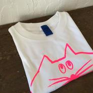 ▲送料無料 100サイズ/半そで ねこもぐらさんTシャツ 6.2oz uyoga cat mole ホワイト ほっぺなし/蛍光ピンク 484番目のねこもぐらさん