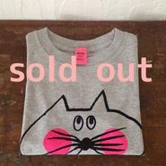 ▲送料無料 110サイズ/半そで ねこもぐらさんTシャツ uyoga cat mole ミックスグレー