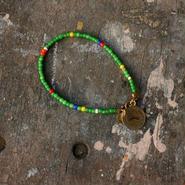 Old Beads Bracelet with Vintage Token, Green