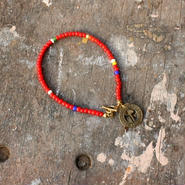 Old Beads Bracelet with Vintage Token, Red