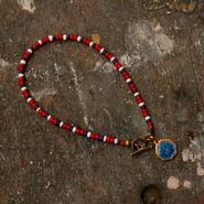 40's St. Christopher Charm + Vtg. Beads Bracelet