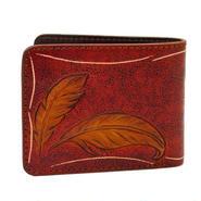 フェザーカービングクラフト レザーウォレット(二つ折財布)アンティークレッド 10005512