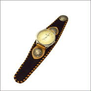 レディースサイズ馬革ハラコ腕時計 (リストウォッチ)黒 10002894