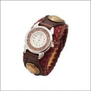 リザードスキン レザーリストウォッチ トカゲ革 牛革 腕時計 ワイン 10006519