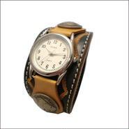 牛革(レザー) スタンピングクラフト 腕時計(リストウォッチ)グリーン 10004216