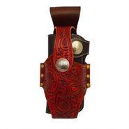 レザー(牛革)ペイズリーカービングクラフト ウォレット(財布)ホルダー 赤 10001388