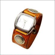 レザー(牛革) フラワー スタンピングクラフト腕時計(リストウォッチ)10006664