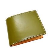 レザーウォレット(二つ折財布) カーキ 無地  10006814