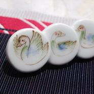 水鳥たちの帯留(陶器)