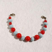 赤と水色のレトロ配色羽織紐