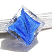 水中ガラスのスクエア帯留(青)