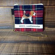ビーグル刺繍赤タータンチェックカードケース