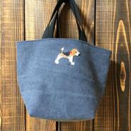 ビーグル刺繍ビンテージウォッシュ生地ミニトートバッグお散歩バッグ