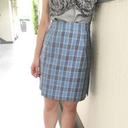 WOTA original Grace Check Skirt Lt.blue