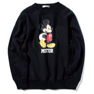 YOSHIDAROBERTO™DISNEY COLLECTIONモーターミッキーマウスクルーネックスウェットシャツ(ブラック)