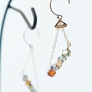 K14gf crystal dice pierced earrings