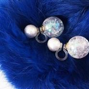cottonpearl×auroraball earring