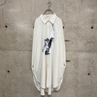 painted  long dress shirts / white 02