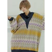 Noelle argyle shaggy knit 【数量限定】