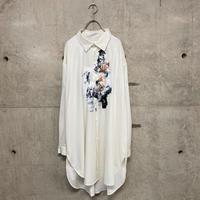 painted  long dress shirts / white 04