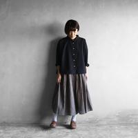 綿ウールタイプライタークロスワイドブラウス(ブラック)【レディス】
