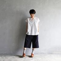 先染めタイプライタークロス8分丈パンツ(ダークネイビー)