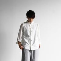 スヴィンオックスフォードシャツ(アイボリー&茶ボタン)【ユニセックス】013