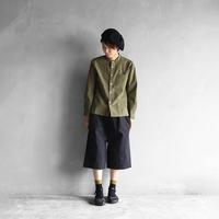 綿ウールタイプライタークロスバンドカラーシャツ(カーキ)【ユニセックス】