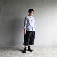 ウォッシャブルウールコットン8分丈パンツ(ネイビー)【ユニセックス】