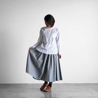 綿麻(コットンリネン)バフクロスロングスカート(グレー)【レディス】U402