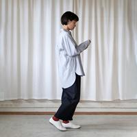 コードレーンビッグシャツ(白×黒細ストライプ)【ユニセックス】