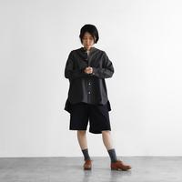 タイプライタークロスバンドカラーオーバーシャツ(スミクロ)【ユニセックス】015