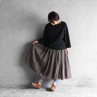 ウォッシャブルウールロングスカート(チャコールブラウン)【レディス】