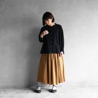 オーガニックコットンバンドカラーワイドブラウス(クロ)【レディス】