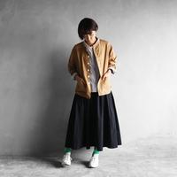 オーガニックコットンノーカラーシャツジャケット(ブラウン)【ユニセックス】