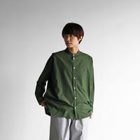 オーガニックコットンバンドカラーオーバーシャツ(エバーグリーン)【ユニセックス】015