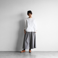 綿ウールタイプライタークロススカートパンツ(グレー)【レディス】