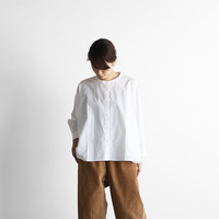 オーガニックコットンバンドカラーワイドブラウス(白)【レディス】U104